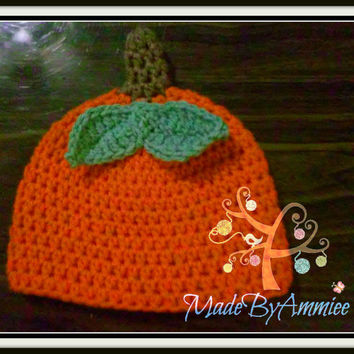 Crochet Baby Pumpkin Hat, Infant Fall Cap, Autumn Beanie, Kids Pumpkin Photoprop, Knit Pumpkin Hat, Orange Fall Hat