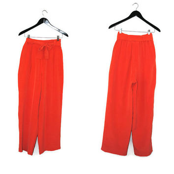 MONDI hibiscus silk palazzo pants 80s high waisted pleated NOS trousers size small