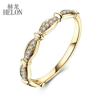 HELON Exquisite Diamonds Engagement Band Solid 10k Yellow Gold Pave Natural Diamonds Wedding Ring Fine Jewelry Women's