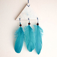 Boho Triangle Mobile - Sparkling Stars - With Blue Glitters Stellar Sky and Turquoise Green Feathers - Home Decor, Nursery Mobile