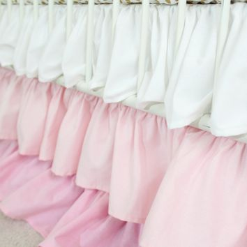 Waterfall Ruffle 3 Tier Crib Skirt | Pink Blush