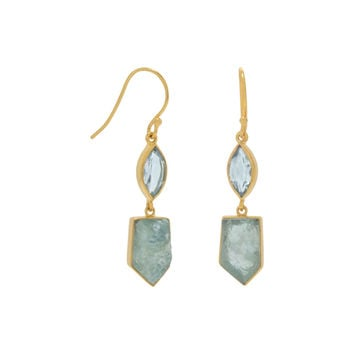 Aquamarine and Blue Topaz Drop Earrings in 14k Gold Plated Sterling Silver