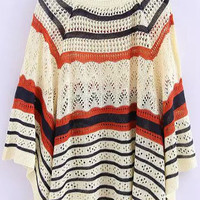 Beige Striped Knit Cape Sweater
