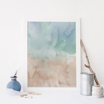 Watercolor Blue and Beige Ocean Abstract Art Print