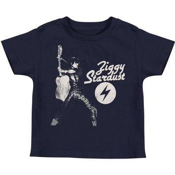 David Bowie Boys' Ziggy Stardust Childrens T-shirt Blue