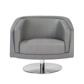 Cassius Swivel Lounge Chair in Gray with Stainless Steel Base