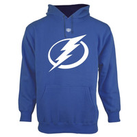 Tampa Bay Lightning Old Time Hockey Big Logo with Crest Pullover Hoodie – Royal Blue