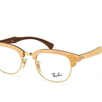 Ray-Ban Clubmaster Wood Optics Maple Gold Eyeglasses Vintage RB 5154M 5558 51mm