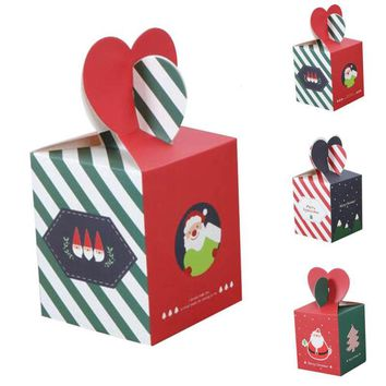 2pcs Merry Christmas Striped Red Green Apple Box Special Christmas Eve Cookies Packaging Gift Box Carton Snowman Candy Box A30