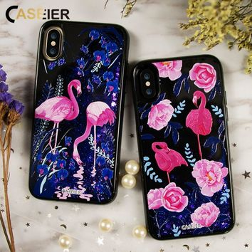 Flamingo Custom Made Phone Case For iPhone 6 6s 7 8 Plus Liquid Glitter Dynamic Sand Cases For iPhone X 3D Relief Quicksand Coque Capa Shell