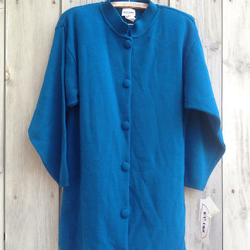 Vintage sweater | Deadstock 80s 90s blue oversized 1045 Park long cardigan sweater duster