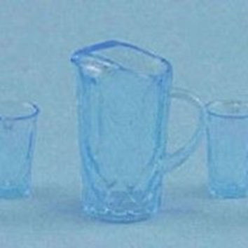 1:12 Scale Pitcher with 4 Glasses, Blue #CHR88B