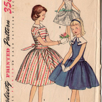 Vintage 1950s Girls Dress Simplicity Sewing Pattern 1497 Kimono Sleeves Detachable Collar Knee Length