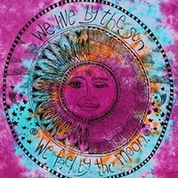 We Live By The Sun Feel By The Moon Pink Tie Dye Tapestry