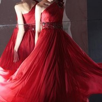 Red One Shoulder Beads Waist Long Dress 81002 from LocascioFashion