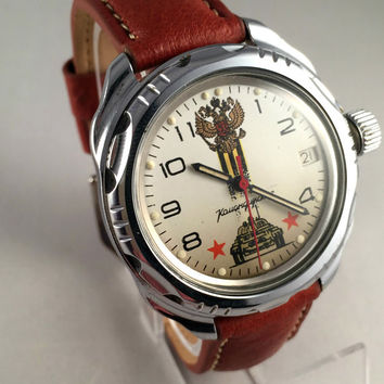 "VINTAGE USSR Military men's Vostok ""Komandirskie"" AIRFORCE watch.This Soviet watch comes with brand multi-functional leather band. see pics!"