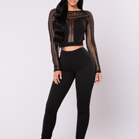 Hurts To Know Fishnet Set - Black