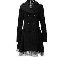 Women Slim Double Breasted Lace Hem Turndown Collar Trench Coats