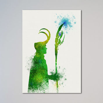 Avengers Loki Poster Thor Watercolor Print Comics The Avengers Assemble express service fast delivery