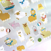 Alpaca sticker sporty animal alpaca little lamb epoxy sticker rare animal white sheep little piggy pig  farm animal sticker scrapbooking