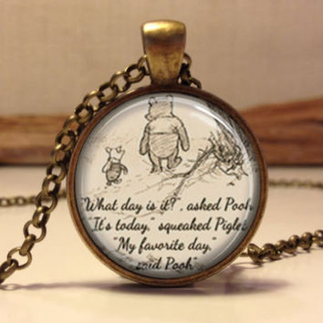 Winnie The Pooh Quote Cabochon Necklace