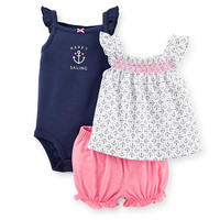"Carter's Girls 3 Piece ""Happy Sailing"" Sleeveless Bodysuit, White/Navy Anchor Print Top, and Pink Bloomer Set"