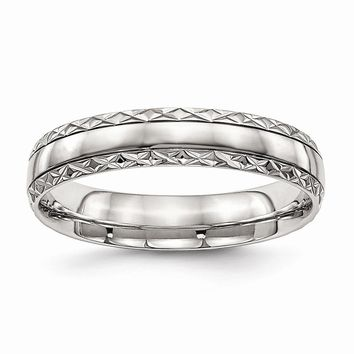 Stainless Steel Polished Grooved Criss Cross Design Ring 6 to 13 Size