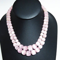 Swarovski Beaded Multistrand Necklace - Pink Satin Glass Cube Beads - Double Strand Bead Jewelry Vintage 1950s Mid Century