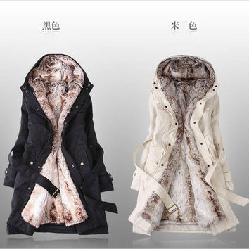New 2015 Women's Wool Coat Fashion Overcoat Medium-long Fur Jacket Overcoat Cashmere coat women Winter Slim Thickening Wadded Jacket Overcoat Womens coats Manteau Abrigos Mujer = 1930496324