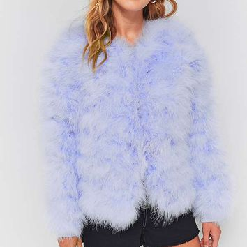 Light Before Dark Marabou Faux Fur Jacket | Urban Outfitters