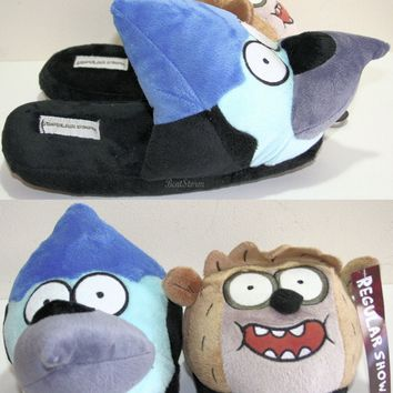 Licensed cool The Regular Show MORDECAI BIRD & RIGBY RACCOON Plush FACE Slippers House Shoes