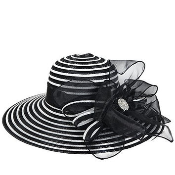 Women's Striped Organza Church Dress Wide Brim Hat S938 (Black)
