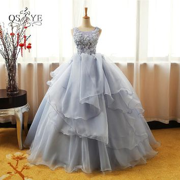 Vintage Ball Gown Lace Evening Dresses 2017 Real Photo Tank Sleeveless 3D Flower Tiered Tulle Long Prom Dress Party Gown
