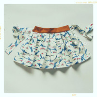 SALE Take Flight Girl Twirl Skirt with Sash Airplane Print with Blue Green Cinnamon Spring Summer Collection from Fleur and Dot