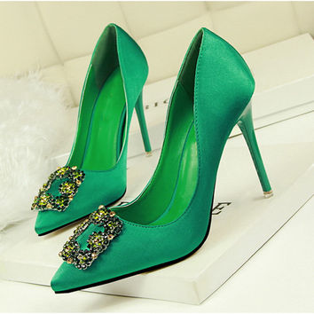 Satin Cloth Colorful Rhinestone Crystal Sexy Shallow Toe Women Pumps  10cm High Heels Woman Wedding Party Shoes