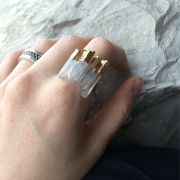 Gold leaf dipped raw quartz ring