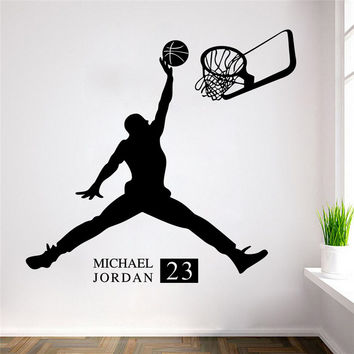 Sports Poster Basketball Wall Stickers NO.23 Michael Jordan slam dunk Wallpaper for Kids Room Wall Decoration Adesivo De Parede