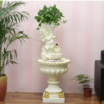 European water fountain fish tank pool living room home accessories water features Feng Shui wheel humidifier floor decoration.