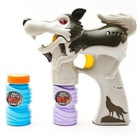 Lighted Novelty Grey Wolf Bubble Gun Bubbles Included Battery Operated