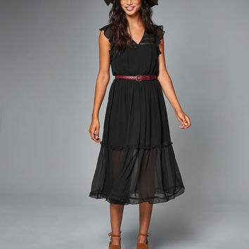 Womens Ruffle Sleeve Midi Dress | Womens New Arrivals | Abercrombie.com