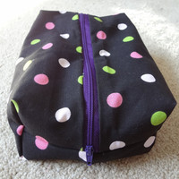 30% OFF Zippered Travel Organizing Pouch Black Pink Polka Dots