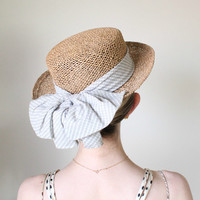 1950's Hat,VINTAGE, Straw, Summer, STATE FAIR, Summer Hat, Ribbon, Sailor Style