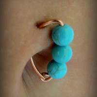 NEW 20g Turquoise & Rose Gold Belly Button Ring