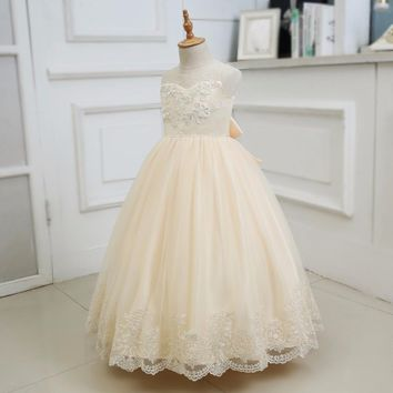 Elegant Champagne Tulle Sequin Beading Appliques Lace Long Flower Girls Dresses For Wedding Bow Sash First Communion Prom Gowns