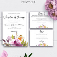 Personalized Boho Wedding Set, Bohemian Wedding Invitations, Marsala Invitation Template, Marsala Burgundy Customized Invite, Watercolor