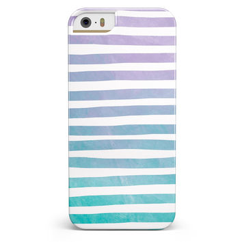 Purple to Green WaterColor Ombre Stripes iPhone 5/5s or SE INK-Fuzed Case