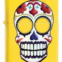 Zippo Sugar Skull Pocket Lighter, Lemon Matte