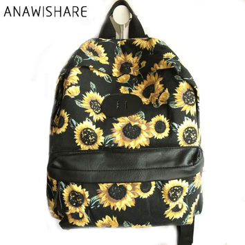 ANAWISHARE Women Backpacks Canvas Flower Prinitng School Bags For Teenagers Girls Laptop Backpacks Rucksack Mochila Feminina