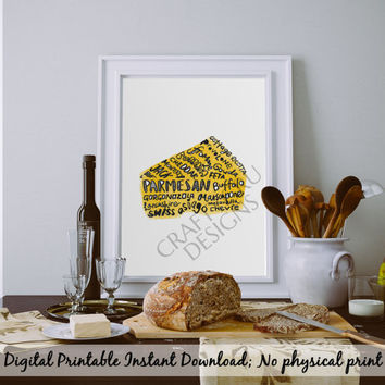 Cheese Art Print, Kitchen Poster, Kitchen Decor, Kitchen Art, Cheese Print, Cheese Names List, Lettering Print