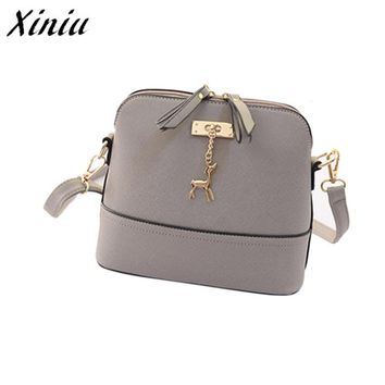 XINIU 2017 New Fashion Shell Women Messenger Bags High quality Deer Cross body Bag PU Leather Mini Female Shoulder Bag @9A0708